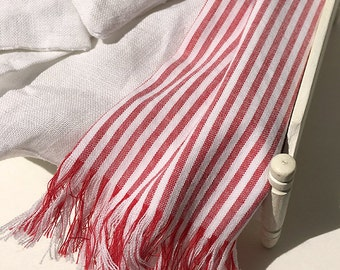 Shabby Chic Handmade Miniature Dollhouse Bed or Sofa Throw - Cotton Fabric with Fringe- Shabby Chic Red and White Stripe