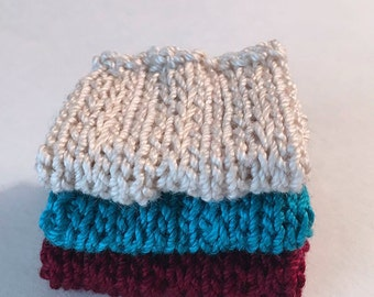 Miniature Faux Shelf Blankets - Shabby Chic Hand Knitted - Stack of 3 -Ecru, Peacock, Cardinal