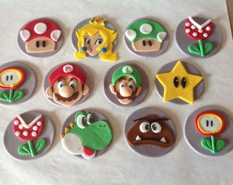Mario Brothers Cupcake Toppers - Fondant - Edible