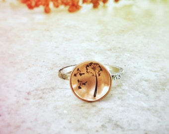 Dandelion Ring - Dandelion Seeds - Hand stamped Ring - Wish Ring - Botanical Ring - Make a Wish - Nature Inspired Ring - Copper Ring