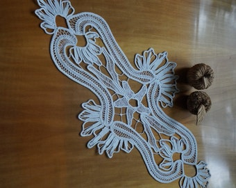 Romanian Point Lace off-white long doily, flowers and accolades, handmade cotton crochet, macrame wedding or home decor, vintage collectible