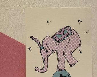 Circus Elephant Screen Print