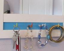 Teen Gift Mirror,  White Framed Mirror With Decorative Hooks, Custom Colours and Backings