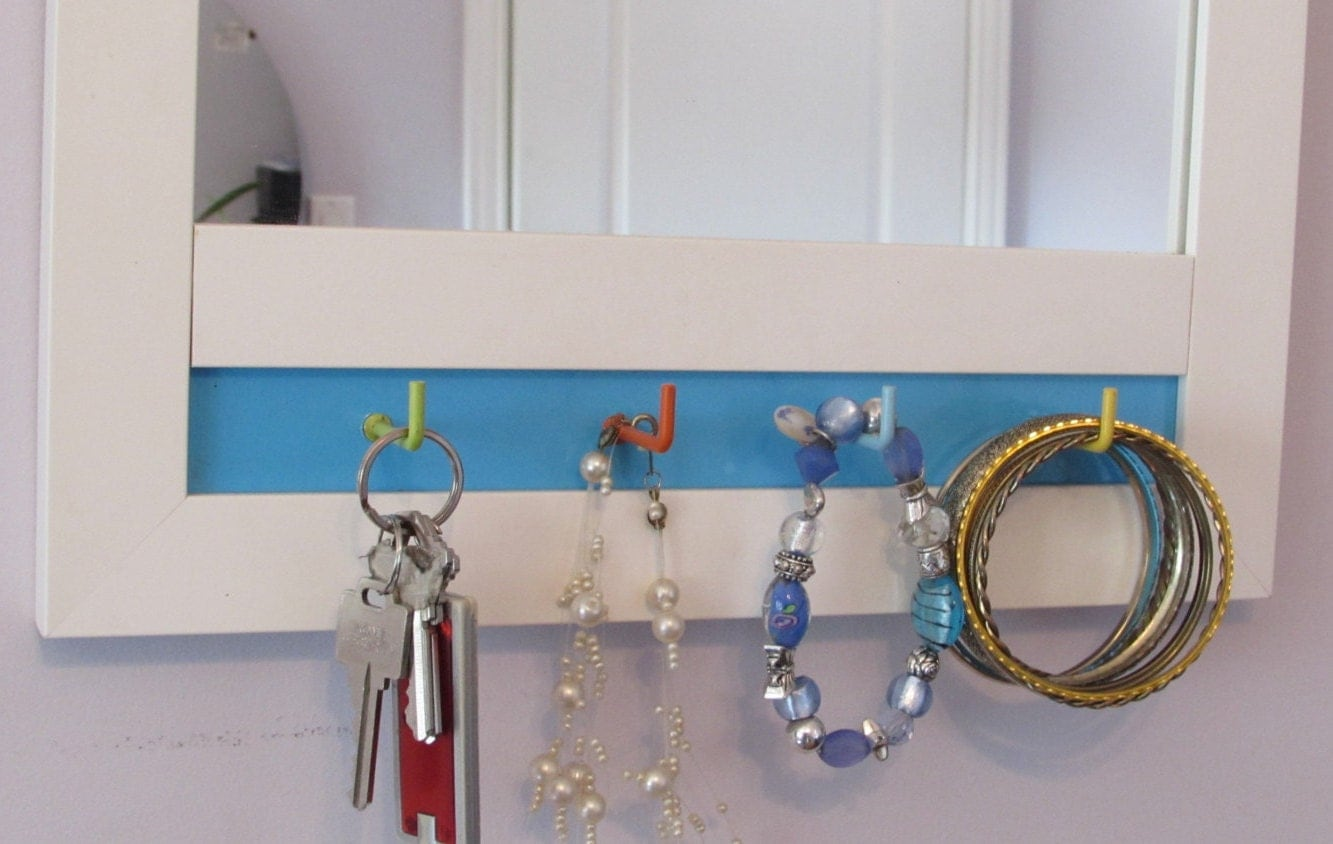 Teen gift mirror white framed mirror with decorative hooks for Mirror hooks