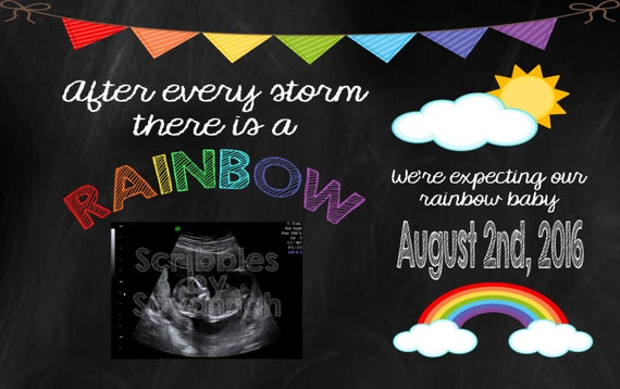 Printable Rainbow Baby Pregnancy Announcement