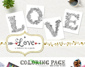 SALE Coloring Pages LOVE Printable Alphabets Letters AntiStress DIY Adult Book Art Instant
