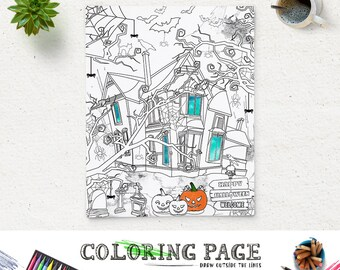 Coloring Halloween Page Printable Haunted House Party Pages Instant Download Digital Art Holiday Adult