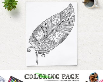 SALE Printable Feather Coloring Page Doodle Art Book Adult AntiStress Therapy Instant Download