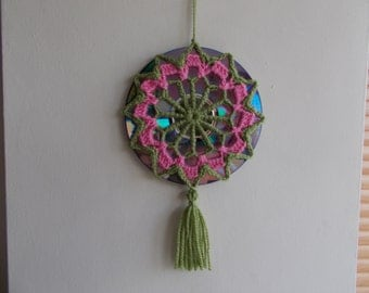 Crochet Mandala Suncatcher - Double Sided Sun Catcher Mobile - Repurposed/Upcycled CD - Window Decor - Crocheted Doily Ornament -Boho Hippie