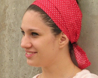 RED polka dot head scarf, hair wrap,head wrap,tichel,hair wrap