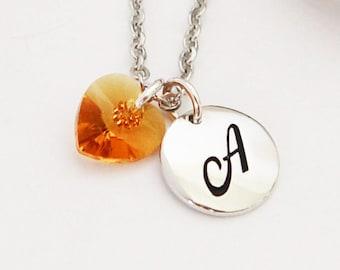 November Topaz Birthstone Necklace, Initial Necklace, Swarovski Crystal Heart Pendant, Letter Charm Pendant
