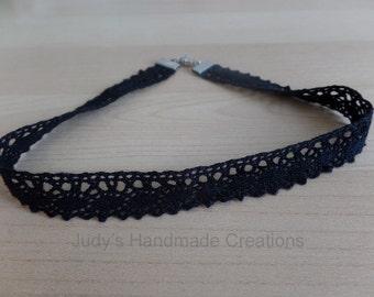 Black Lace Choker Necklace, Black Ribbon Choker, Black Choker, Choker Necklace, Black Necklace