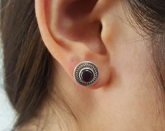 Garnet Sterling Silver Stud Earrings, 925, red earrings, garnet Earrings, natural stones, gift, stud earrings, burgundy earrings, red studs