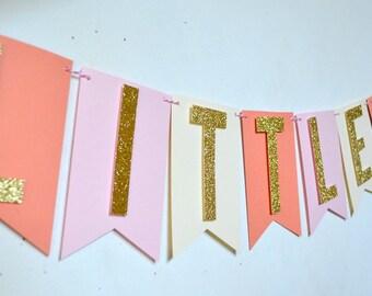 Blush Pink Gold Glitter Girls Little Pumpkin Banner/ Fall Baby Shower Banner/ Fall Birthday Party/Rustic Fall Party Decor