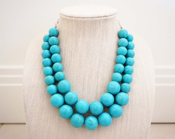Turquoise Bead Statement Necklace