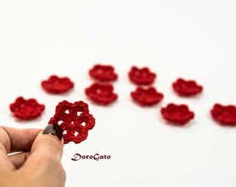 Mini Crochet flowers, Crochet applique, craft supply, small crochet flowers, Flowers applique, cards, scrapbooks, embellishments /set of 10/