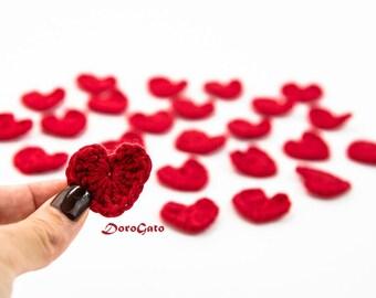 Crocheted hearts applique, red crochet heart, Crochet applique, Valentines day embellishment, wedding decorations, crochet hearts /set of 5/