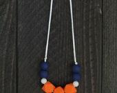 SALE!/ Silicone Teething Necklace/ Silicone Nursing Necklace/ Denver Broncos Accessory/ Orange White Navy Broncos Necklace