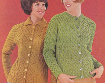 Women's aran cable cardigan pattern with or without collar vintage knitting pattern INSTANT download pattern only pdf 1960s