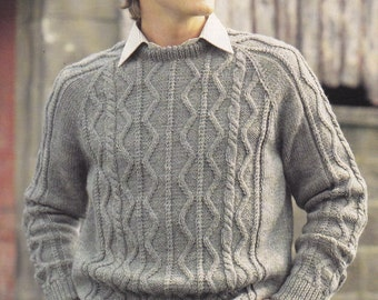 Men's cable sweater vintage knitting pattern pdf INSTANT download pattern only pdf