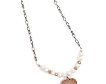 copper heart necklace, pearl & copper necklace, hammered copper heart necklace, pearl necklace, heart necklace, heart, heart and pearl