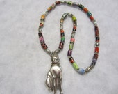 Sterling Silver Cat charm Pendant Necklace, Paper Beaded Necklace, Wiccan Jewelry, Cat Queen Necklace, Halloween Jewelry