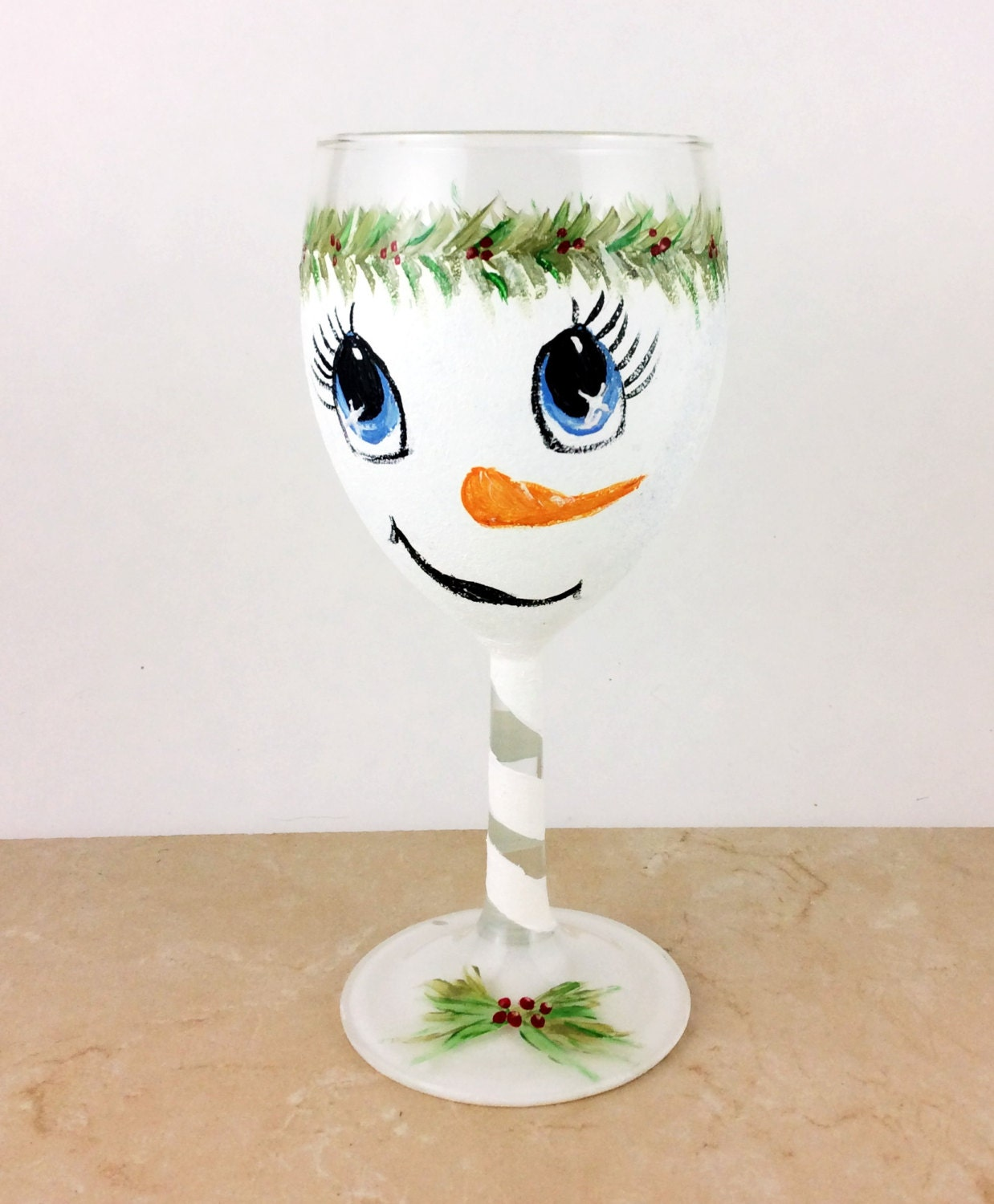 Christmas Decorations With Wine Glasses: Snowman Wine Glasses, Personalized Wine Glasses, Holiday