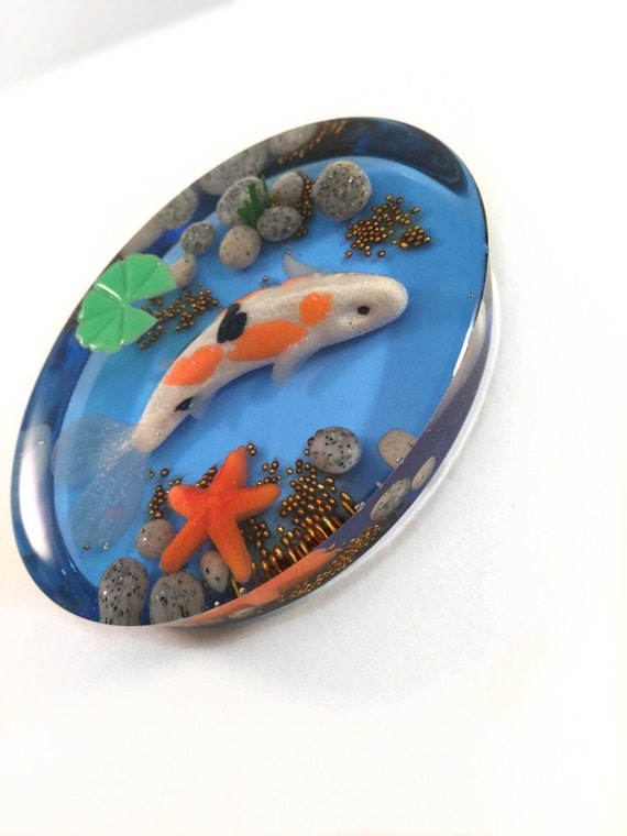 Miniature koi fish pond resin paperweight polymer clay koi for Clay koi fish
