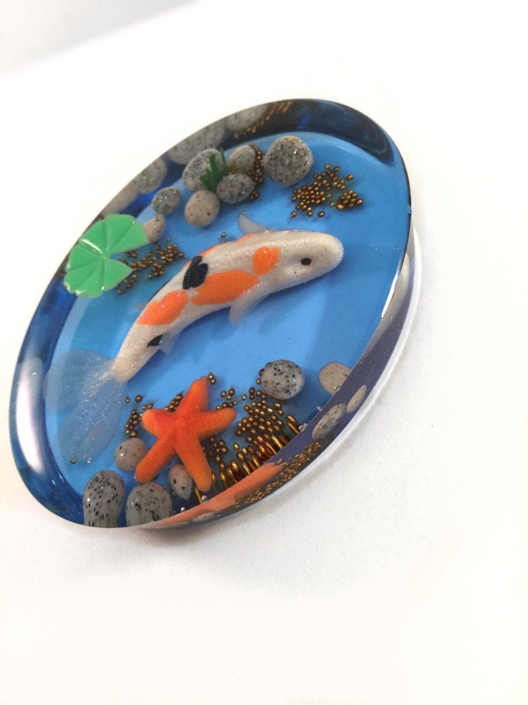 Miniature koi fish pond resin paperweight polymer clay koi for Mini koi fish