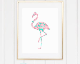 Palm Beach Flamingo Tropical Preppy Print - Pulitzer-Inspired Aqua / Seagreen and Pink - Glam, Chic, Lilly - Digital Instant Download, 8x10