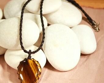Handmade Tiger's Eye Necklace Heart Medium