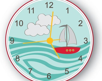 Littlie Sail Boat, Nursery Room Decor, Kids Wall Clock