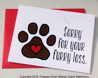 Loss of Pet Card - Pet Death Card - Pet Sympathy Card