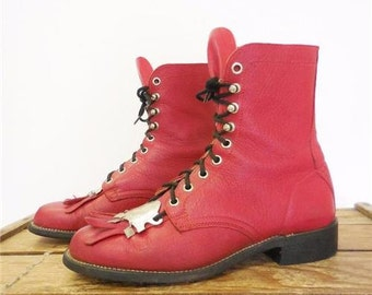 Vintage Red Leather Kiltie Roper Lace Up Metal Plate Cowboy Boots Women 6.5 C