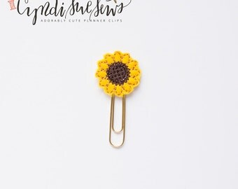 Cute Feltie Planner Clip Sunflower flower For Organizational Planners