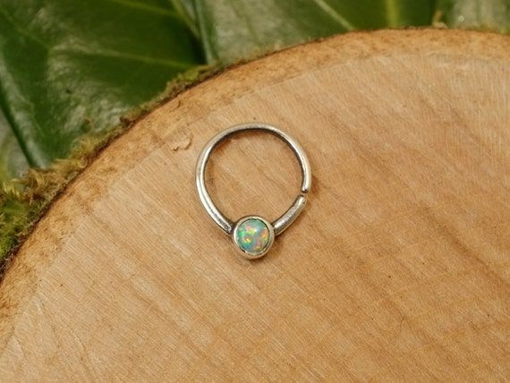 sterling silver opal septum ring 1 2mm 16g by