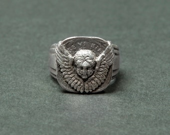Ring Angel's Paris (Signet Ring with a winged angel cash)