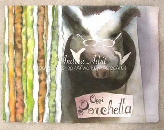 """Oggi Porchetta (Siena Boar) - 11""""x15"""" Watercolor Painting"""