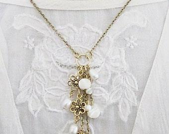 Tassel Necklace, Pearl Jewelry, Pearl Tassel Necklace, Pearl & Charm Cluster Necklace, Unique Pearl Necklace, Art Nouveau Necklace, Pearls