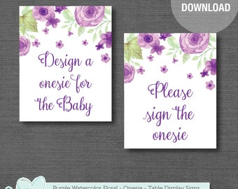 Design a Onesie Sign and Sign the Onesie Sign Baby Shower Decor Printable, Purple Watercolor Floral, Flowers, Girl, Decorate A Onesie, 008A