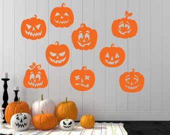 Pumpkin Decals, Pumpkin, Halloween Wall Decal, Pumpkin Decal Set, Pumpkins, Pumpkin Wall Decal, Halloween, Halloween Party, Hocus Pocus