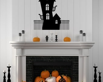Halloween Decal Haunted House Decal Wall Decal Halloween Scary House Haunted