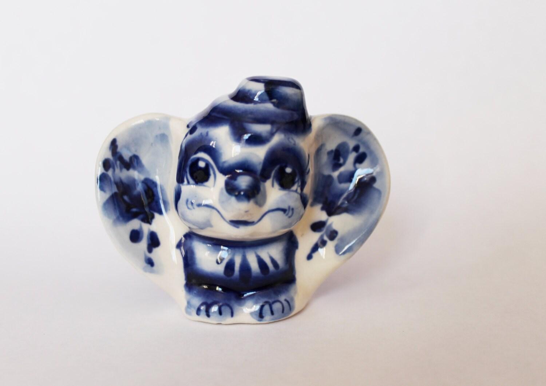 Elephant Figurine Blue White Porcelain Elephant Figure Tiny