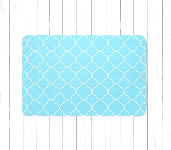 Aqua Quatrefoil Pattern Area Rug Or Bath Mat