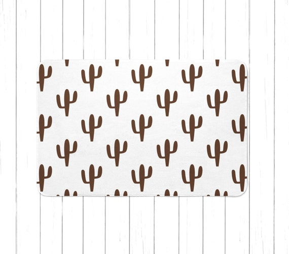 Brown And White Cactus Sign Rug Or Bath Mat Minimalist