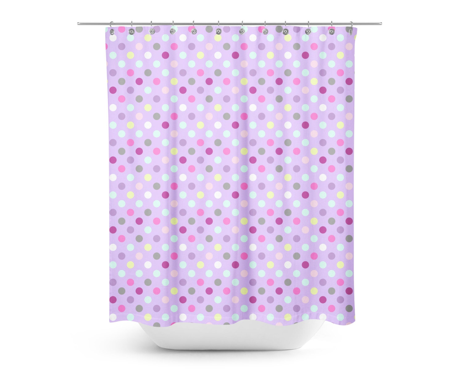 Purple Multi Colored Polka Dot Shower Curtain Kids