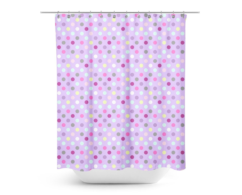 purple multi colored polka dot shower curtain kids. Black Bedroom Furniture Sets. Home Design Ideas