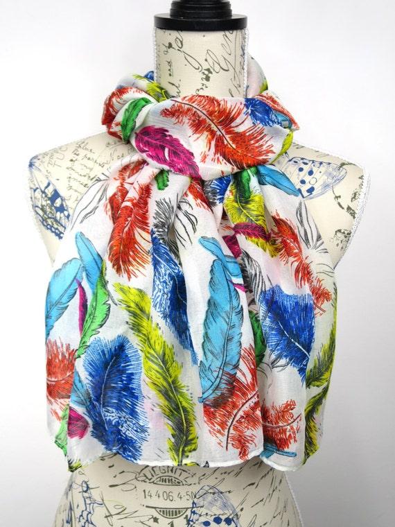 Fashion Tribal Scarf - Feather Print Scarf - Fall Boho Scarf - Unique Printed Scarf - Women Feather Scarf - White Fabric Scarf - Gift Idea