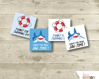 Shark Party, Party Tags, Party Squares, Instant Download, DIY Printable, Birthday Party, Pool Party