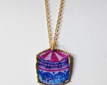 Handmade Carousel Bronze Pendant / Brass Chain 18inches